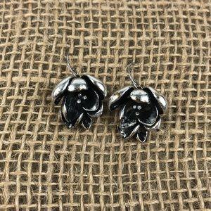 🐝 3/$15 Fossil Silver Tone Flower Earrings